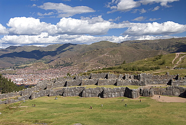 The zig-zag fortress of Sacsayhuaman, with Cuzco in the background, Cuzco, Peru, South America