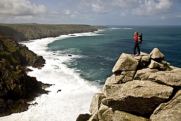 Looking west towards Cape Cornwall and Lands End from Bosigran Cliff, West Penwith, Cornwall, England, United Kingdom, Europe