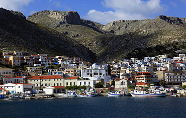 The town of Pothia seen from the sea, Kalymnos island, Dodecanese, Greek Islands, Greece, Europe