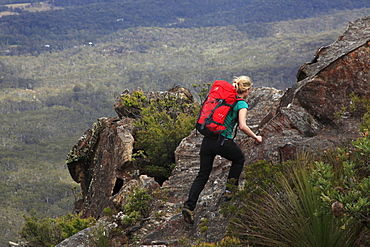 A woman walking near Three Peaks, Katoomba, Blue Mountains, New South Wales, Australia, Pacific