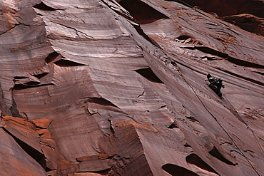 A climber scales cliffs at Indian Creek in the Utah Desert, Canyonlands National Park, Utah, United States of America, North America