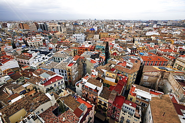 Central Valencia from the tower of the Metropolitan Cathedral Basilica of the Assumption of Our Lady of Valencia, Valencia, Spain, Europe