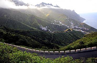 Looking down to the coastal town Taganana, Anaga Peninsula, Northern Tenerife, Spain, Europe