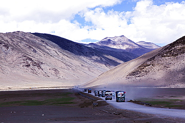 Trucks on one of the world's highest roads, the Manali to Leh highway, Ladakh, Himalayas, India, Asia
