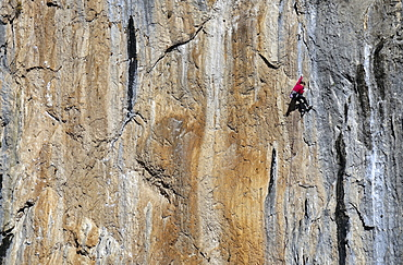 Rock climber in action, Collegats, Catalonia, Spain, Europe