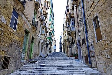 Street in the City of Valletta, UNESCO World Heritage Site, Malta, Europe