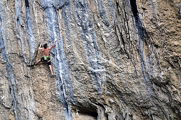 Rock climber at Collegats, Catalonia, Spain, Europe