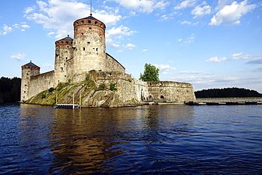 Olavinlinna Castle, a 15th-century three-tower castle in Savonlinna, Finland, Europe