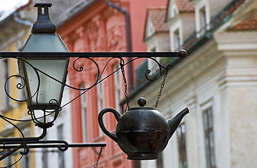 Traditional sign outside a tea shop in Ljubljana old town, Slovenia, Europe