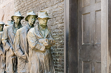 Statue of a Great Depression bread line at the Franklin D. Roosevelt Memorial,  Washington, D.C., United States of America, North America