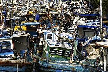 Fishing boats at Negombo lagoon, Negombo, Sri Lanka, Asia