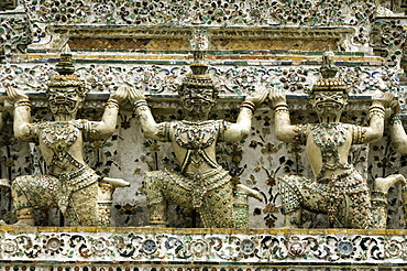 Section of the Wat Arun (Temple of the Dawn), Bangkok, Thailand, Southeast Asia, Asia