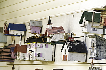 Birdhouses for sale at an antique store in Chatham, Massachusetts, New England, United States of America, North America