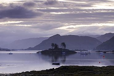 Dawn view of Plockton and Loch Carron near the Kyle of Lochalsh in the Scottish Highlands, Scotland, United Kingdom, Europe