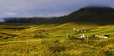 View of the Quiraing from Brogaig on the Isle of Skye, Inner Hebrides, Scotland, United Kingdom, Europe
