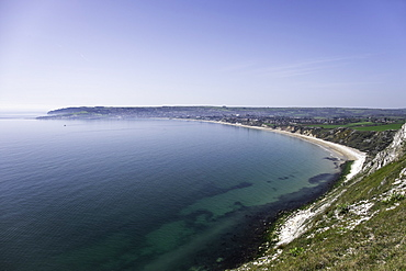 View of Swanage Bay from the coastal footpath in Dorset, England, United Kingdom, Europe