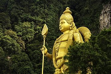Statue of Hindu God, Lord Muruganat, at the entrance to the Batu Caves, Gombak, Malaysia, Southeast Asia, Asia