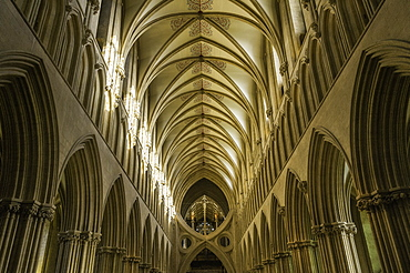 The interior of Wells Cathedral, Somerset, England, United Kingdom, Europe