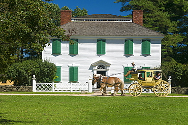 Horse drawn stagecoach at Old Sturbridge Village, a living history museum depicting early New England life from 1790 to 1840 in Sturbridge, Massachusetts, New England, United States of America, North America