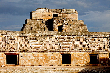 The Nunnery Quadrangle with the Pyramid of the Magician in the background, Uxmal, UNESCO World Heritage Site, Yucatan, Mexico, North America - 804-442