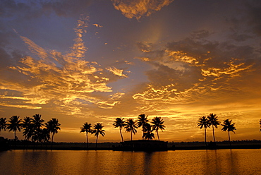 Sunset over the Backwaters of Alleppey, Kerala, India, Asia