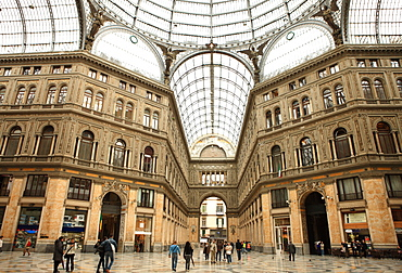 Low angle view of the interior of the Galleria Umberto I, Naples, Campania, Italy, Europe