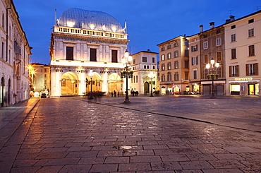 Piazza della Loggia at dusk, Brescia, Lombardy, Italy, Europe