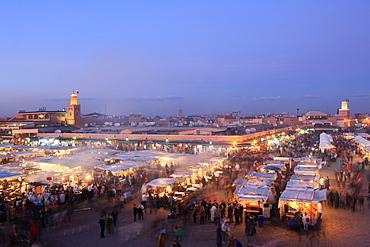 Food stalls, Djemaa el Fna, Marrakech, Morocco, North Africa, Africa