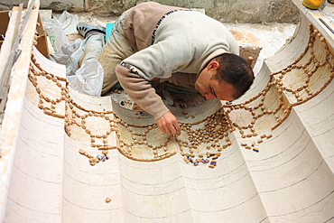 Artisan making mosaic, Fez, Morocco, North Africa, Africa