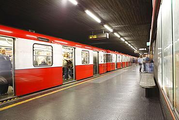 Underground train, Milan, Lombardy, Italy, Europe