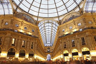 Galleria Vittorio Emanuele at dusk, Milan, Lombardy, Italy, Europe