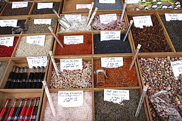 Different types of salt in a street market on the French Riviera, Provence, France, Europe