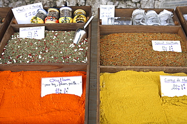 Spices on a stall in a street market on the French Riviera, Provence, France, Europe