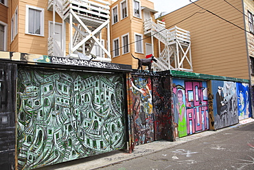 Murals, Clarion Alley, Mission District, Mission, San Francisco, California, United States of America, North America