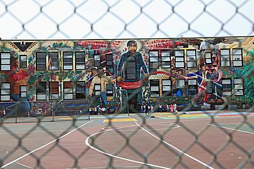 Mural, Cesar Chavez Elementary School, Mission District, Mission, San Francisco, California, United States of America, North America