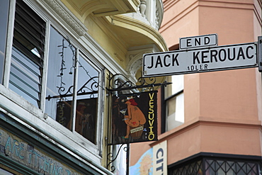 Sign for Jack Kerouac Alley, Vesuvio, Bar, Beat generation hang out, North Beach, San Francisco, California, United States of America, North America