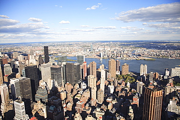 Shadow of Empire State Building, Manhattan, East River, Queens, New York City, United States of America, North America