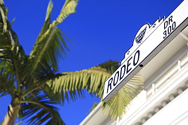 Road sign, Rodeo Drive, Beverly Hills, Los Angeles, California, USA