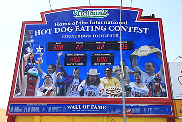 Hot Dog Eating Contest, Wall of Fame, Nathans Famous Hot Dogs, Coney Island, Brooklyn, New York City, United States of America, North America