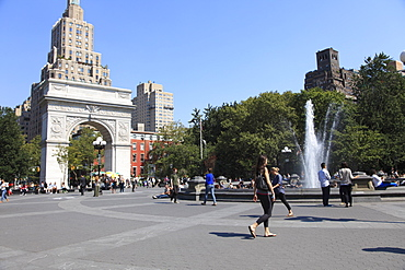 Washington Square Park, Washington Square Arch, Greenwich Village, West Village, Manhattan, New York City, United States of America, North America