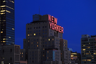 New Yorker Hotel at dusk, Midtown, West Side, Manhattan, New York City, United States of America, North America