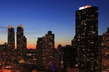 Midtown skyline at dusk, West Side, Manhattan, New York City, United States of America, North America