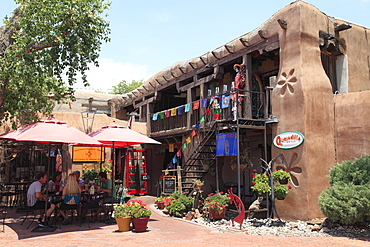 Cafes and shops, Old Town, Albuquerque, New Mexico, United States of America, North America