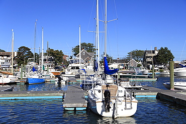 Boats in port, Harbor, Hyannis, Cape Cod, Massachusetts, New England, United States of America, North America