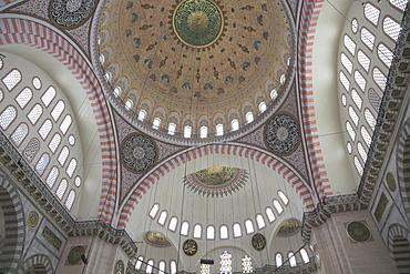 Interior, Suleymaniye Mosque, UNESCO World Heritage Site, Istanbul, Turkey, Europe