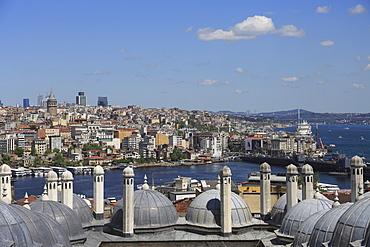 View of Beyoglu District, Golden Horn from Suleymaniye Mosque, UNESCO World Heritage Site, Istanbul, Turkey, Europe