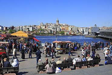 Eminonu, Galata Tower, Golden Horn, Bosphorus, Istanbul, Turkey, Europe