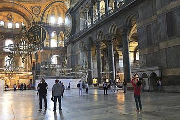 Interior, Byzantine architecture, Hagia Sophia (Aya Sofya), UNESCO World Heritage Site, Istanbul, Turkey, Europe