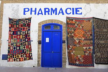 Pharmacy, Moroccan carpets, Medina, UNESCO World Heritage Site, Essaouira, Morocco, North Africa, Africa