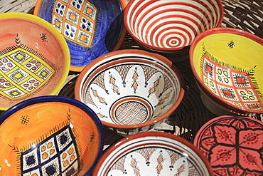 Pottery in Artisans Market below ramparts, Medina, Essaouira, Morocco, North Africa, Africa
